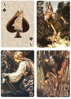 Fairy Tale Art Playing Cards: Art by Arthur Rackham by Ruth Miller — Kickstarter Fantasy Paintings, Fantasy Art, Playing Cards Art, Graphic Novel Art, Arthur Rackham, Fairytale Art, Deck Of Cards, Faeries, Alice In Wonderland