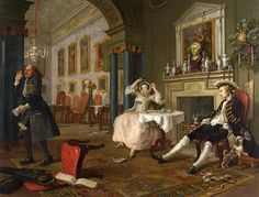 Marriage A-la-Mode: The Tête à Tête by William Hogarth The National Gallery (London, UK) William Hogarth, Ap Art History 250, National Gallery, Merian, Baroque Art, Blog Pictures, Classic Paintings, Vintage Paintings, New Shows