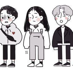 more of my ocs :'00 happy friday everyone!! People Illustration, Graphic Illustration, Pretty Art, Cute Art, Simple Artwork, Anime Friendship, Cute Themes, Korean Art, Small Art