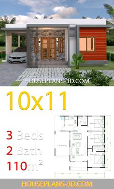 House Design with 3 Bedrooms terrace roof - House Plans - Smart Decoration Ideas House Layout Plans, Duplex House Plans, Family House Plans, Dream House Plans, Modern House Plans, Small House Plans, House Layouts, Dream Houses, Tiny Houses Plans With Loft