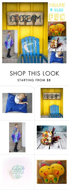 """Yellow and blue FUN!"" by kropkadesign on Polyvore featuring interior, interiors, interior design, dom, home decor, interior decorating i Sola"
