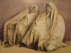 Francisco Zuniga Signed Litho Dos Mujeres con Rebozos