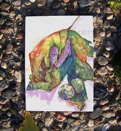Leaf and Acorns Orignal ACEO Card by thebluewindmill on Etsy, $12.00