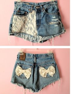 Lace Bow High Waisted Jean Shorts