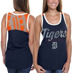 I NEED THIS Detroit Tigers Ladies National Title Tank Top - Navy Blue