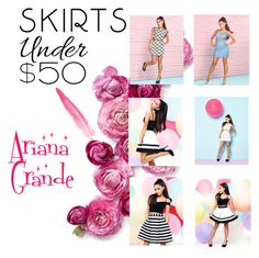 """""""Ariana Grande"""" by cupcakecutie23 ❤ liked on Polyvore featuring Lipsy, under50 and skirtunder50"""