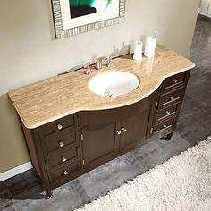Silkroad Exclusive 58-inch Travertine Stone Top Bathroom Vanity