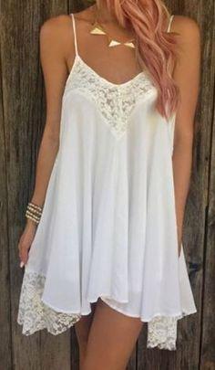 Sexy Romantic White Lace Spaghetti Strap Sleeveless Asymmetrical Backless Women's Dress #Sexy #Romantic #White #Lace #Summer #Beach #Dress
