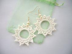 Crochet Beaded Earrings White Cotton Dangle Circle Earrings