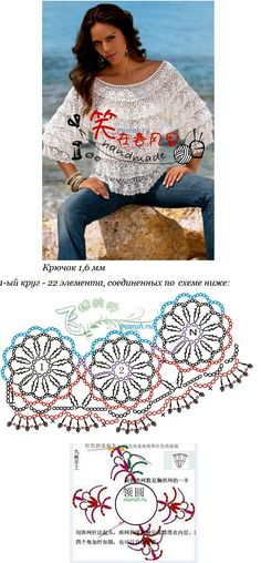 Outstanding Crochet: Pullover. Wow, there's even a clear diagram on how to do the main part of the pattern! Beautiful!