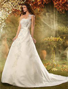 A-line/Princess vestido de novia un hombro tribunal tren Lace - USD $ 247.99