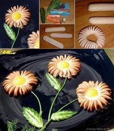 """creative ideas   Creative foods ideas OK - It is: Half a Hot Dog thinly & carefully sliced almost to the edge, them circled into a """"flower""""; a tiny cucumber fashioned into a leaf; a sprig of dill for the stem; & finally an egg for the center of the flower. Great and CREATIVE EATING."""