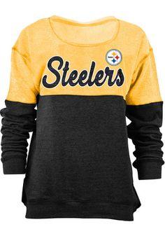 Pittsburgh Steelers Womens Triblend Black Crew Sweatshirt