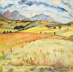 View 'Ripe fields' By Irma Stern; oil on canvas; Access more artwork lots and estimated & realized auction prices on MutualArt. Contemporary Landscape, Landscape Art, Landscape Paintings, Landscapes, Sketch Painting, Watercolour Painting, African Paintings, Van Gogh Art, South African Artists