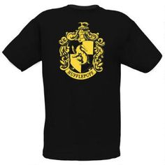 This 100% cotton black fitted t-shirt features the official Hufflepuff Crest in gold on the front.  Available in adult sizes.