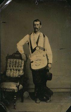 ca. 1860's, [tintype portrait of a gentleman attired in fraternal regalia..masonic?]