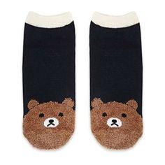 Fuzzy Bear Print Ankle Socks