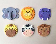 12 Jungle Animal Safari / Zoo Themed Fondant by HoneyTheCake Safari Cupcakes, Fondant Cupcakes, Kid Cupcakes, Fondant Toppers, Cupcake Cakes, Zoo Animal Cupcakes, Giraffe Cupcakes, Zoo Cake, Jungle Cake