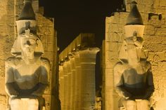 Amazing Egypt Image - Ruins floodlit at night, Egypt - Lonely Planet