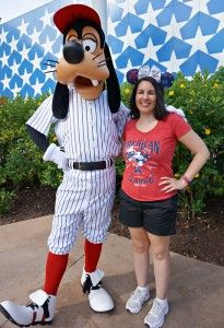Goofy in a baseball uniform at Disney World  / Click to read this great article from the TouringPlans Blog.  Learn how you can get a free TouringPlans subscription from http://www.buildabettermousetrip.com/free-touring-plans