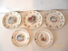 BEATRIX POTTER WEDGEWOOD CHINA COLLECTABLE PLATES x 5 1981 BRITISH
