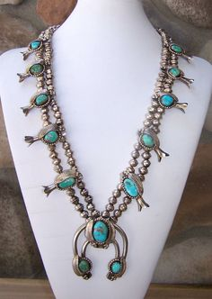 Vintage Navajo Sterling Silver And Turquoise Squash Blossom Necklace
