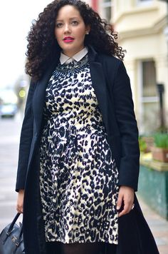 White Collared Shirt + Animal Print Dress + Black Tights + Black Booties