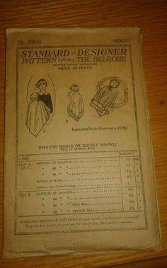 ANTIQUE 1919 BELROBE METHOD SEWING PATTERN 3966 INFANTS SINGLE/DOUBLE SHAWL