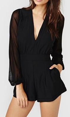 Black Deep V-neck Long Sleeve Playsuit