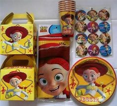 TOY STORY * JESSIE * party 12 lunch & cake plates cups boxes pins 25