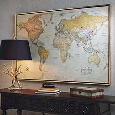 heirloom antiqued linen map - World Map Decor