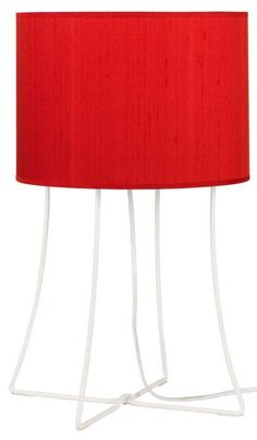 Lights Up! Virgil White and Red Dupioni 21-Inch-H Table Lamp #interior_design #table_lamp See more... http://www.eurostylelighting.com/table+lamps-category/search.htm