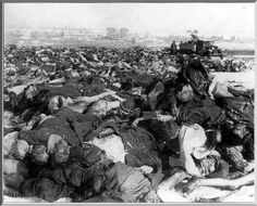 The battle of Kursk.1943 Russian military collect dead German soldiers after the battle of Kursk and brought into one place for later burial.