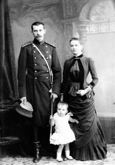 Count Felix Felixovich Sumarokov-Elston with his young wife, Zenaida and their son, Nicholas. Taken shortly after the Zenaida's illness in 1884. The signs of the illness are visible as she appears slimmer with dark circles under eyes, and her hair was cut as a result of the illness.