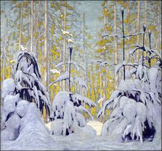 Winter Woods by Lawren Harris of the Group of Seven - Art Gallery of Ontario Tom Thomson, Winter Painting, Winter Art, Winter Trees, Snowy Trees, Canadian Painters, Canadian Artists, Abstract Landscape, Landscape Paintings