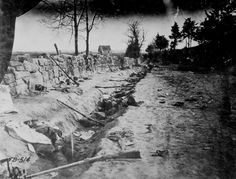 Confederate dead behind stone wall of Mary's Heights  Fredericksburg VA killed during Battle of Chancellorsville May 1863