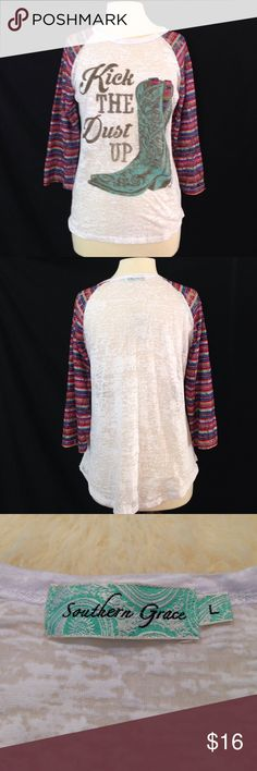 Sheer Cowboy Boot Design Modern Western Top this top was only worn and hand washed once and is in excellent condition. it is very sheer and the multicolored sleeves are made from Lace. this Top does have some stretch to it. Bust 39  length 25 Southern Grace Tops Tees - Long Sleeve