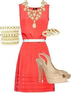 Coral Dress | Gold & Pearl Accessories | Beige Peep Toes