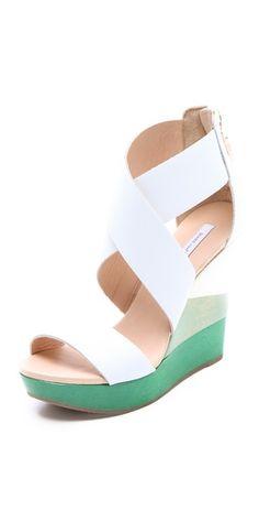 Diane von Furstenberg Wedge Sandals.