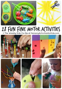 28 Fun Fine Motor Activities + The Weekly Kids Co-Op at SensoryActivitiesforKids