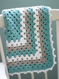 This is a beautiful blanket!!!!  love these colors!  Modern Baby Blanket, Granny Square Baby Blanket, Teal and Gray Baby Blanket, Turquoise Baby Blanket