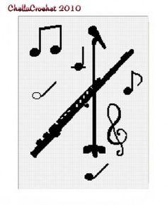 Chella Crochet Flute Microphone Music Afghan Crochet Pattern Graph | chellacrochet - Patterns on ArtFire