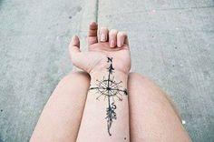 Kompass Tattoo am Handgelenk