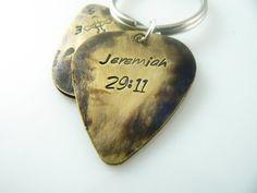 Keychain Guitar Pick Jeremiah 29 11 Custom  Hand by PickMyPick, $8.00