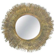 Sunburst Solid Large Brass Midcentury Mirror, France, circa 1955 Bamboo Mirror, Brass Mirror, Convex Mirror, Sunburst Mirror, Mirror Plates, French Mirror, Botanical Decor, Beautiful Mirrors, Mid Century Modern Design