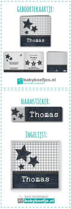 #geboortekaartjes #naamsticker #wanddecoratie #babykamer #jongen #ruitjes #ster.  In dezelfde stijl als je geboortekaartje bieden wij ook naamstickers en een ingelijst ontwerp aan. Op deze manier kun je in dezelfde stijl je babykamer nog verder opvrolijken. De geboortekaartjes zijn verkrijgbaar op www.babyboefjes.nl. De naamstickers en wanddecoratie op www.mijnbabyboefje.nl