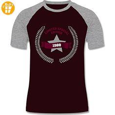 Geburtstag - 1988 Limited Special Edition - M - Burgundrot/Grau meliert - L140 - zweifarbiges Baseballshirt für Männer - Shirts zum geburtstag (*Partner-Link)