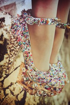spiky rhinestone bedazzled bejeweled shoes.