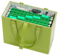File Tote from Office Candy. Coupon Binder Organization, Organizing Paperwork, Office Organization, Organizing Your Home, File Folder Organization, Household Organization, Organization Ideas, Office Candy, Cartonnage