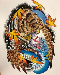 Color scheme for the half sleeve I started. Old School Tattoo Designs, Tatoo Designs, Tattoo Sleeve Designs, Japanese Snake Tattoo, Japanese Tattoo Designs, Weird Tattoos, Body Art Tattoos, Life Tattoos, Eagle Tattoos